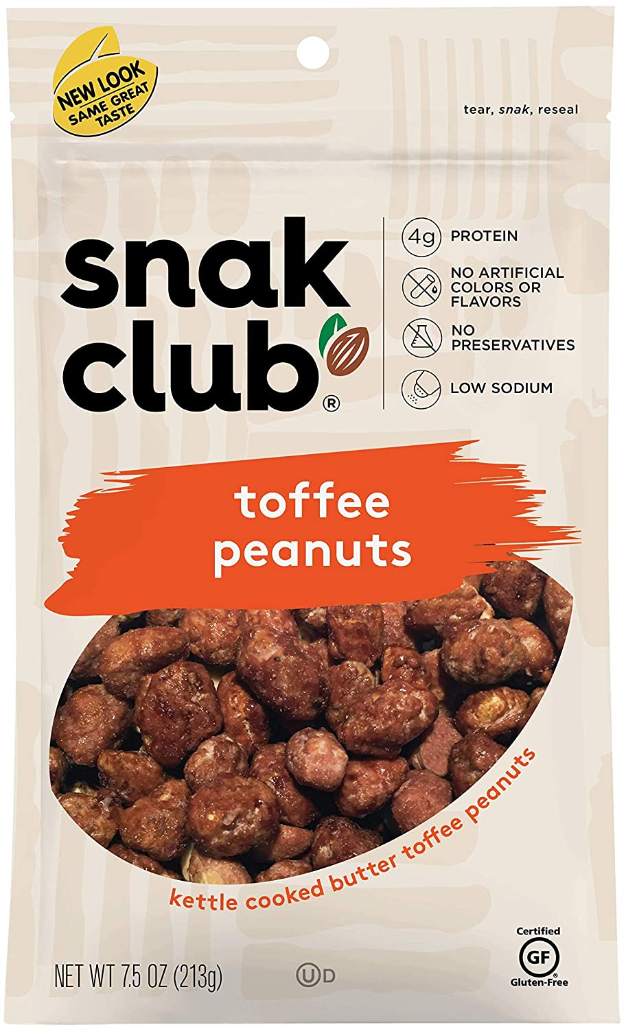 Snak Club All Natural Toffee Peanuts, Gluten Free, 7.5-Ounces, 6-Pack