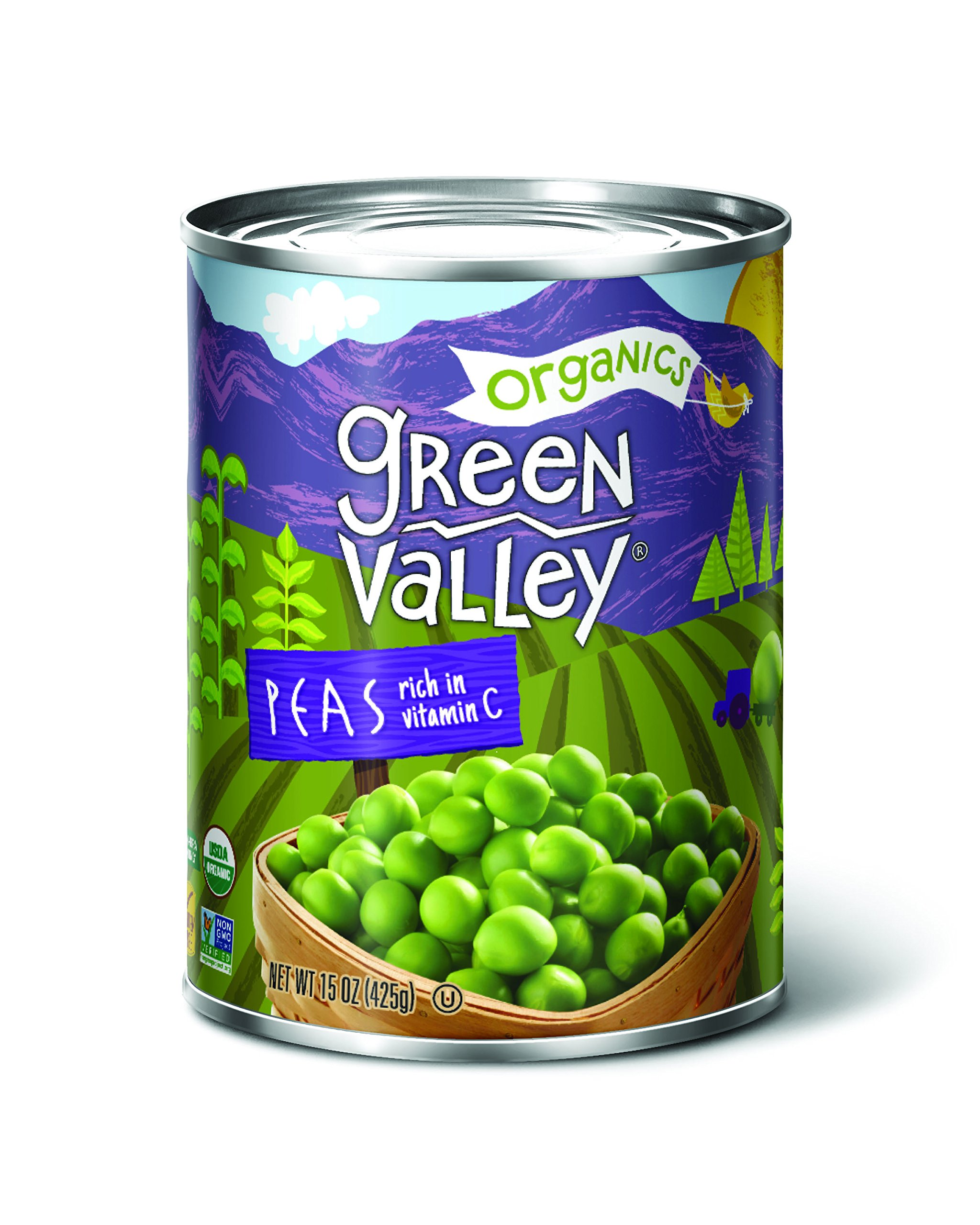 Green Valley Organics Sweet Peas, 15 Ounce (Pack of 12)