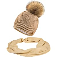 MFAZ Morefaz Ltd Set mössa & halsduk damer vinter mössa stickad mössa sicksack mask fleece tofs pom pom