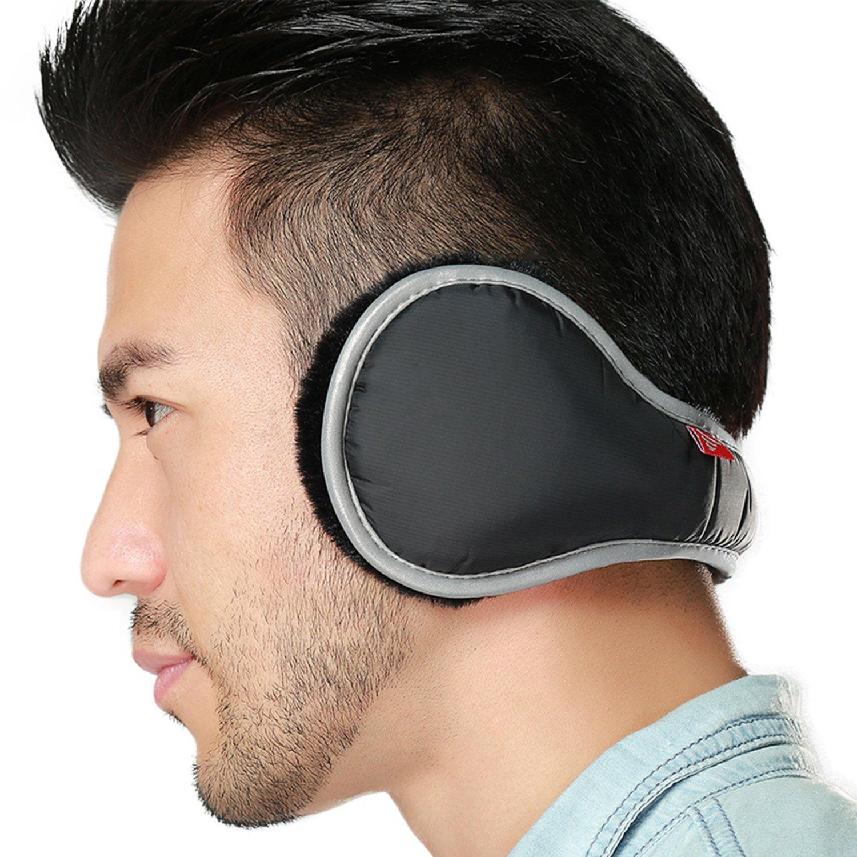 Ear Warmers Waterproof Unisex Winter Fleece Earmuffs For Men Women Adjustable Ear Muffs (Black)