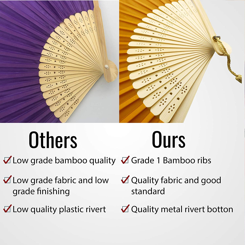 Dark Gold Yellow FANSOF.FANS Silk Fabric Fan with a Tassel Grade A Bamboo Ribs Party Favour Handheld Fan