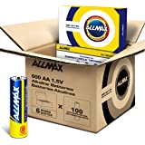 ALLMAX AA Maximum Power Alkaline Batteries (600 Count Wholesale Pack / 6 Boxes of 100 Batteries) – Double A Ultra Long-Lasting Battery – Perfect for Businesses, Schools, Hospitals, Government (1.5V)