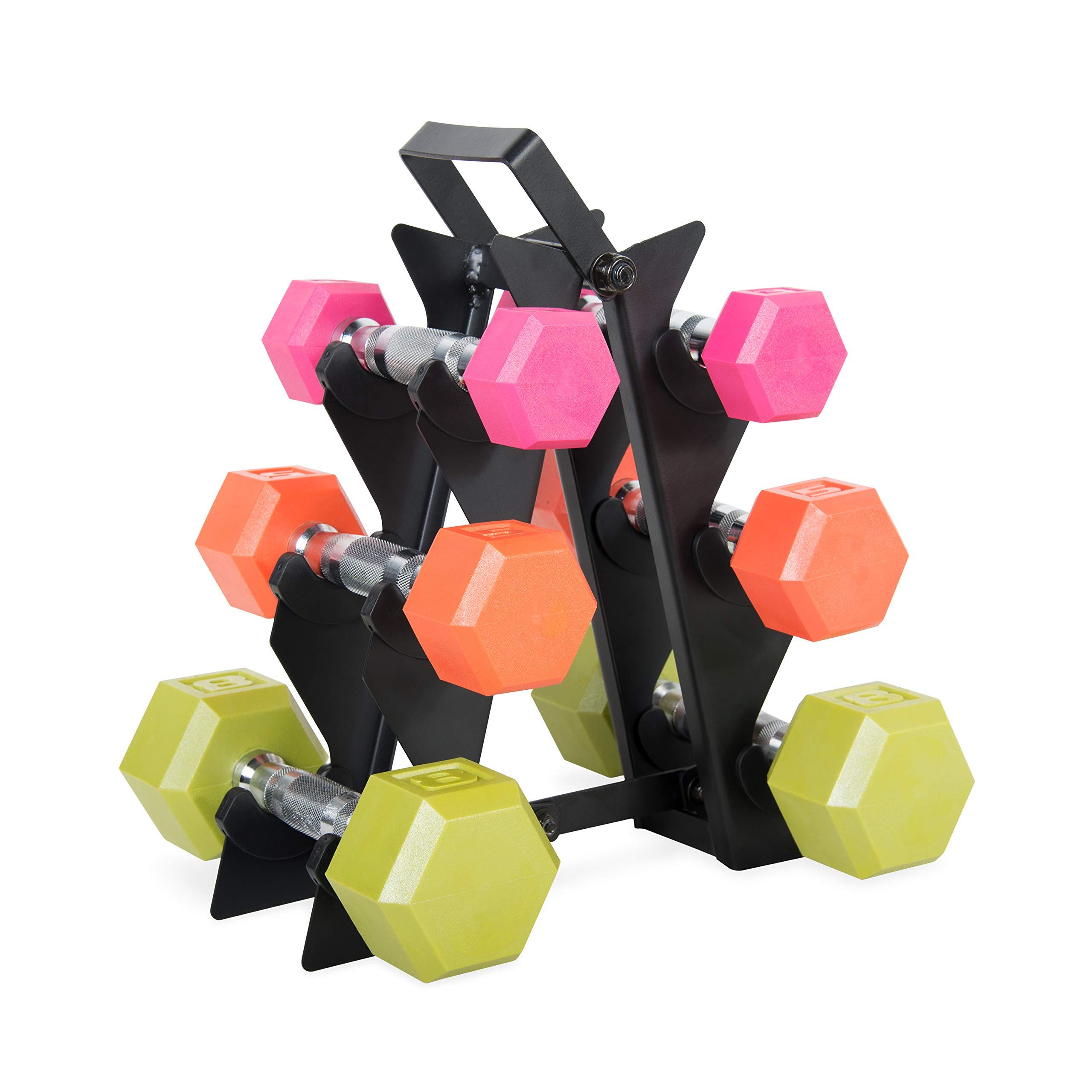 WF Athletic Supply Dumbbell Set with Storage Rack (32lb Color Coated Dumbbell Set)