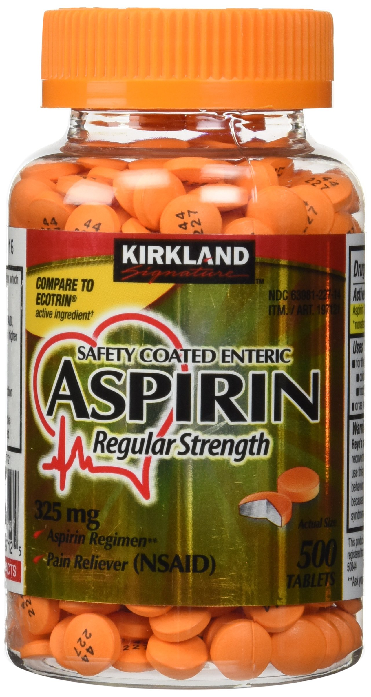 Kirkland Signature Safety Coated Enteric Aspirin, 325 mg, 500 Tablets
