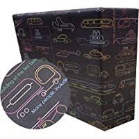 eVincE gift Wrapping Paper Kids Birthday, Cars with fun facts to wrap | Pack of 25 thick matte recyclable sheets | 70 x…