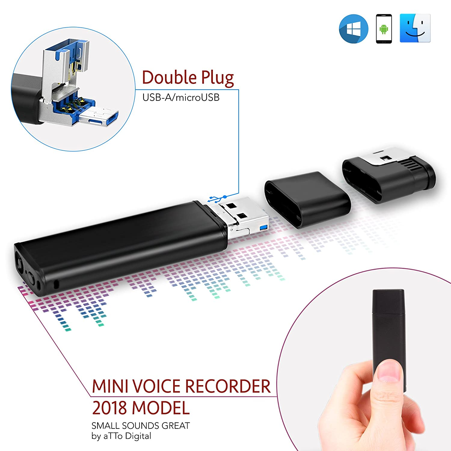 Mini USB Registratore Vocale Audio Spia Cimice 8GB / 94 ore, Voice Recorder compatibile con Smartphone, 26 ore durata della batteria aTTo Digital