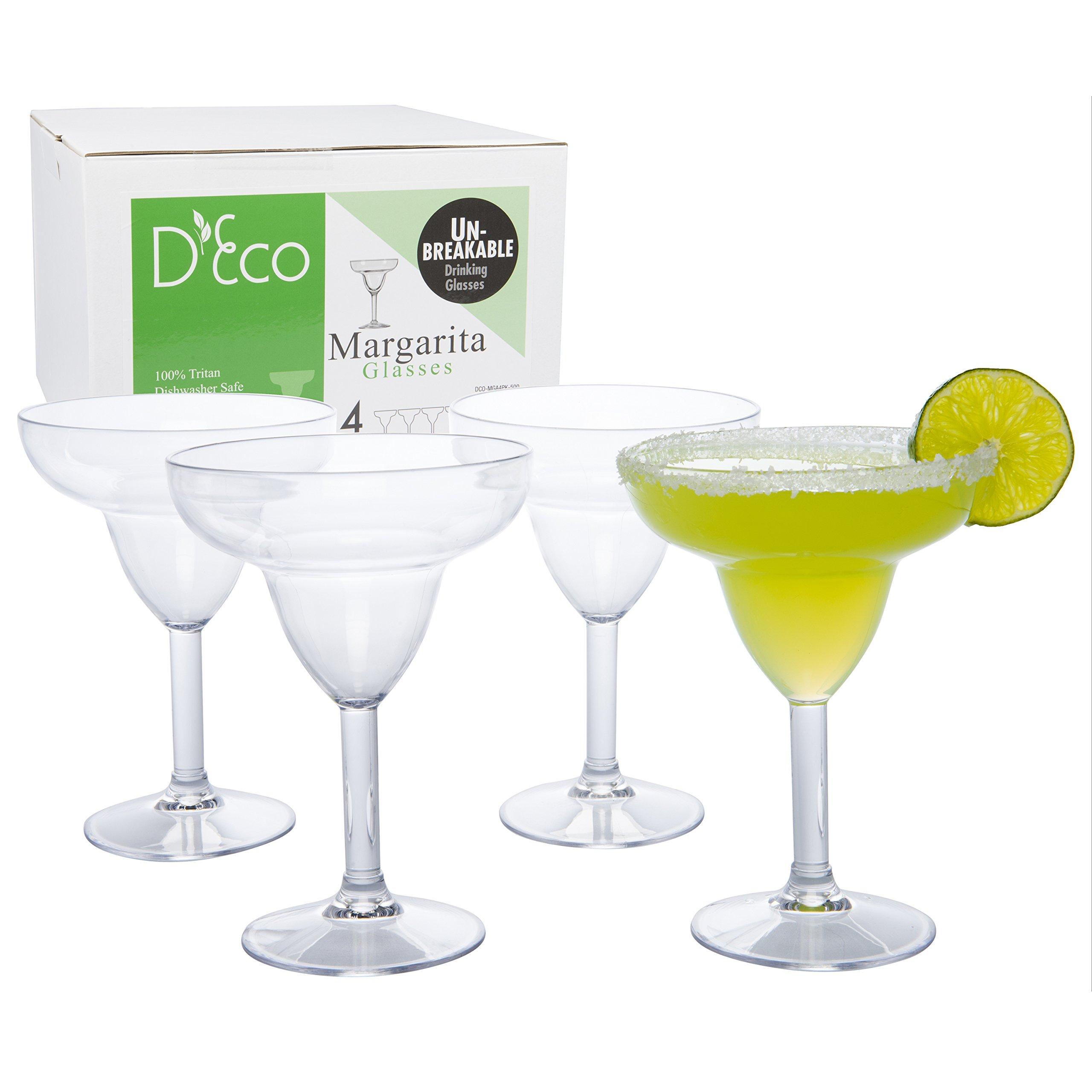Unbreakable Margarita Glasses - 100% Tritan - Shatterproof, Reusable, Dishwasher Safe (Set of 4)