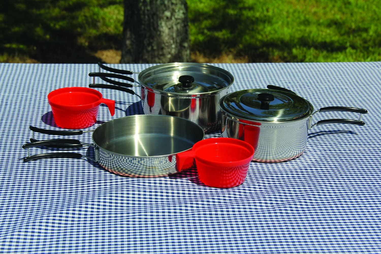 Texsport Stainless Steel Copper Bottom Outdoor Camping Cookware Cook Set with 2 Cups and Storage Bag 13432