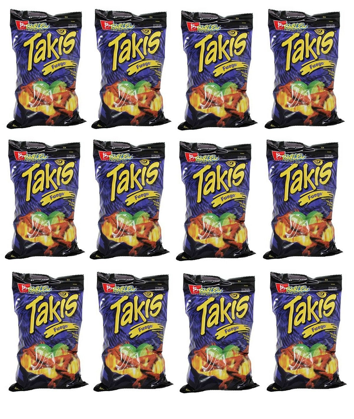 Barcel Takis Fuego Corn Snack - Hot Chili Pepper & Lime - 12 LARGE 9.9oz Bags