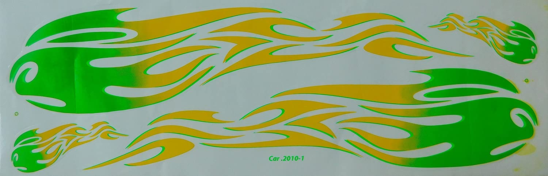 Dd Grosse Flammen Grün Gelb Sticker Aufkleber Folie 1 Blatt 530 Mm X 170 Mm Wetterfest Motorrad Fahrrad Skateboard Auto Auto