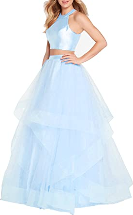 Ladsen Womens 2 Piece Long Prom Dresses 2018 New Quinceanera Gowns US0 Size Burgudny