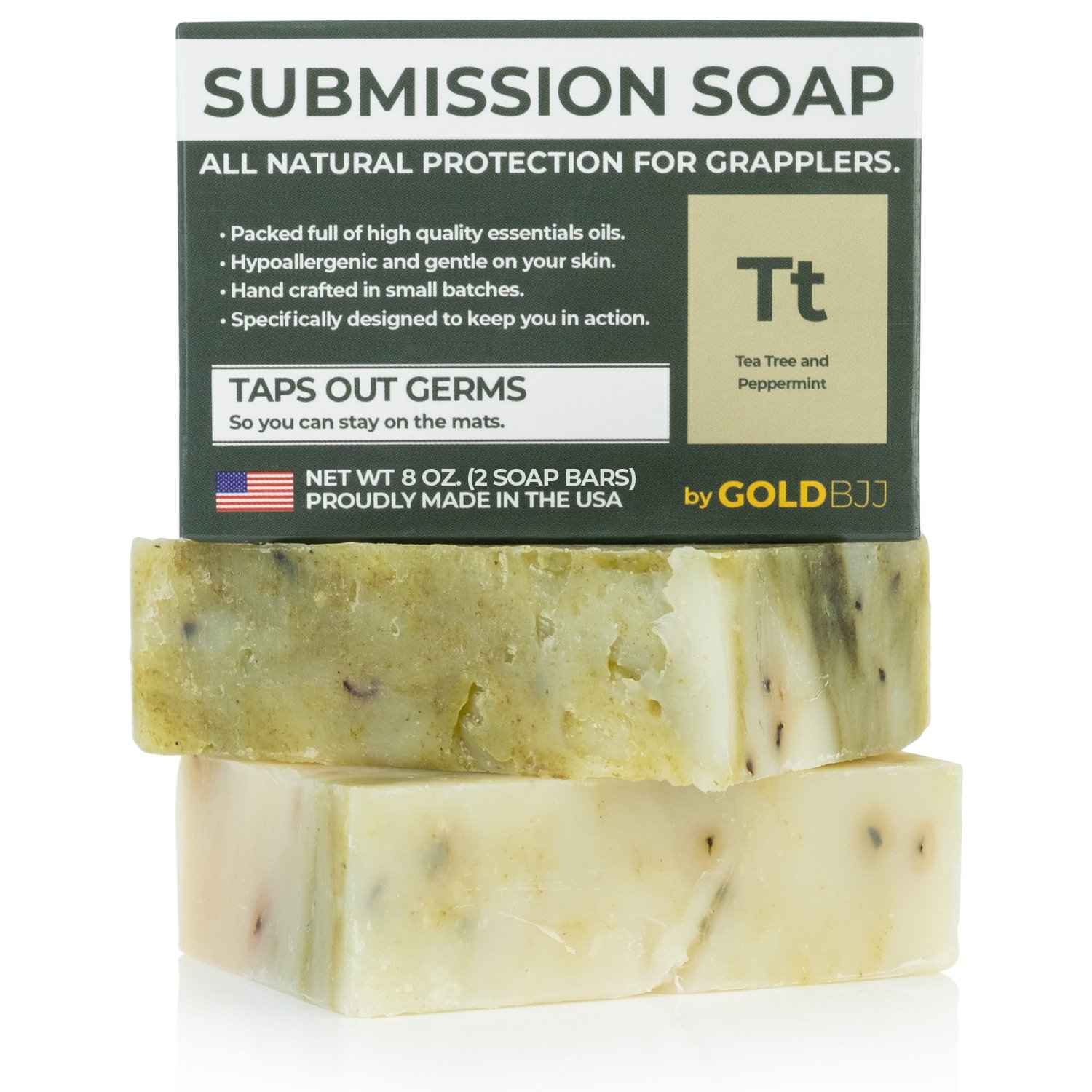 Premium Tea Tree Oil Soap - With Peppermint! 100% All Natural USA Made Bars for BJJ, Jiu Jitsu, Wrestling, and Grappling (2-Pack of 4 Ounce Soap Bars)