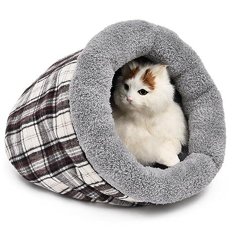 PAWZ Road Gato Cama Gatos Saco de Dormir Gato Nest Suave creando Gato Cueva Cuadros Diseño
