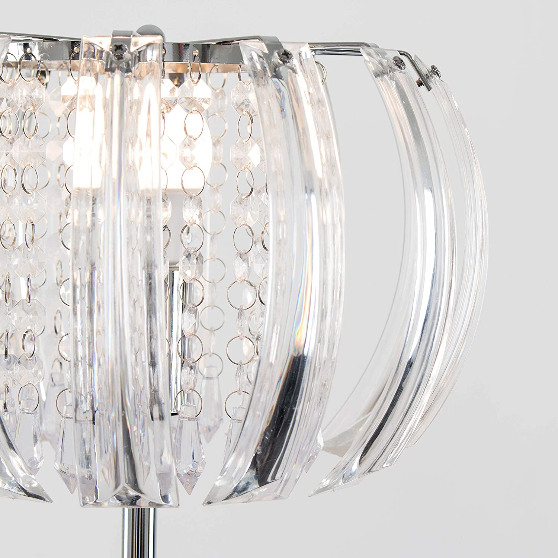 Modern Polished Chrome  Clear Curved Acrylic Crystal Jewel Design Floor Lamp