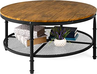Best Choice Products 2-Tier 35.5in Round Industrial Coffee Table, Rustic Steel Accent Side Table for Living Room, w/Wooden Tabletop, Reinforced Crossbars, Padded Feet, Open Shelf, Raised Bottom