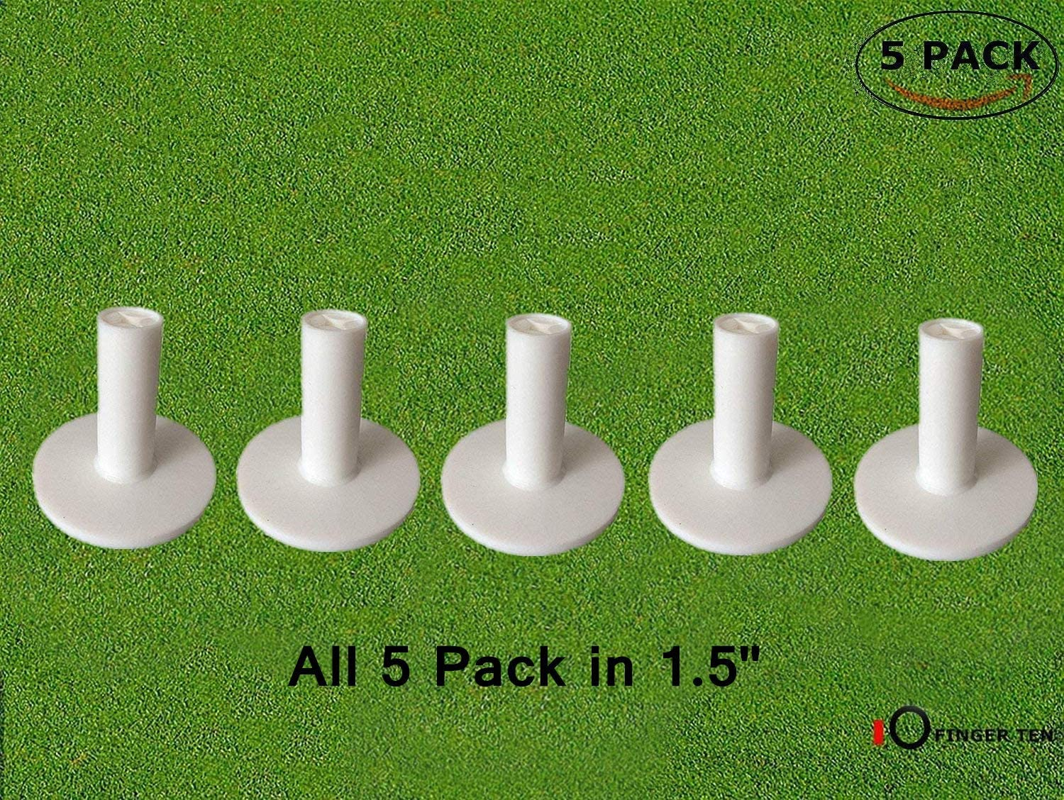 FINGER TEN Golf Rubber Tee Driving Range Value 5 Pack for Indoor Outdoor Practice Mat, Tee Adaptor Size 1.5'' 2.0''White Black Tee Holder Set for Hitting Mats