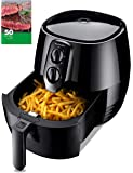 TILUXURY Hot Air Fryer with 3.7QT Detachable Basket, Healthy Oil Free Cooking + 50 Recipes for your Air Fryer Book
