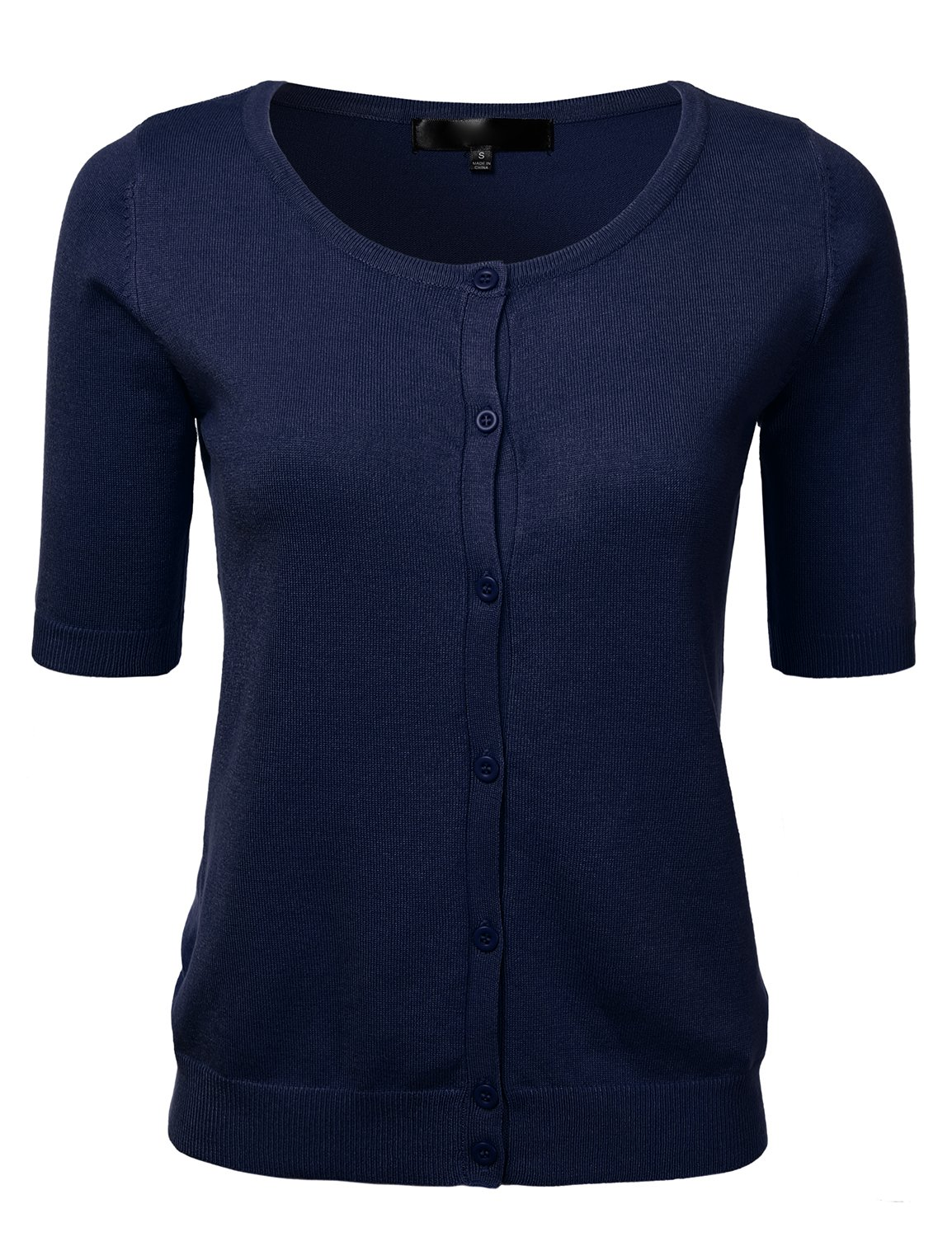 FLORIA Womens Button Down Fitted Short Sleeve Fine Knit Top Cardigan Sweater Navy L