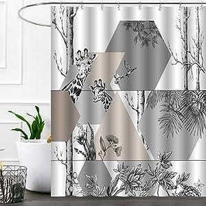 Ashler Waterproof Bathroom Shower Curtain Sets with Plastic Hooks 70x 72 inches Grey Giraffe-2
