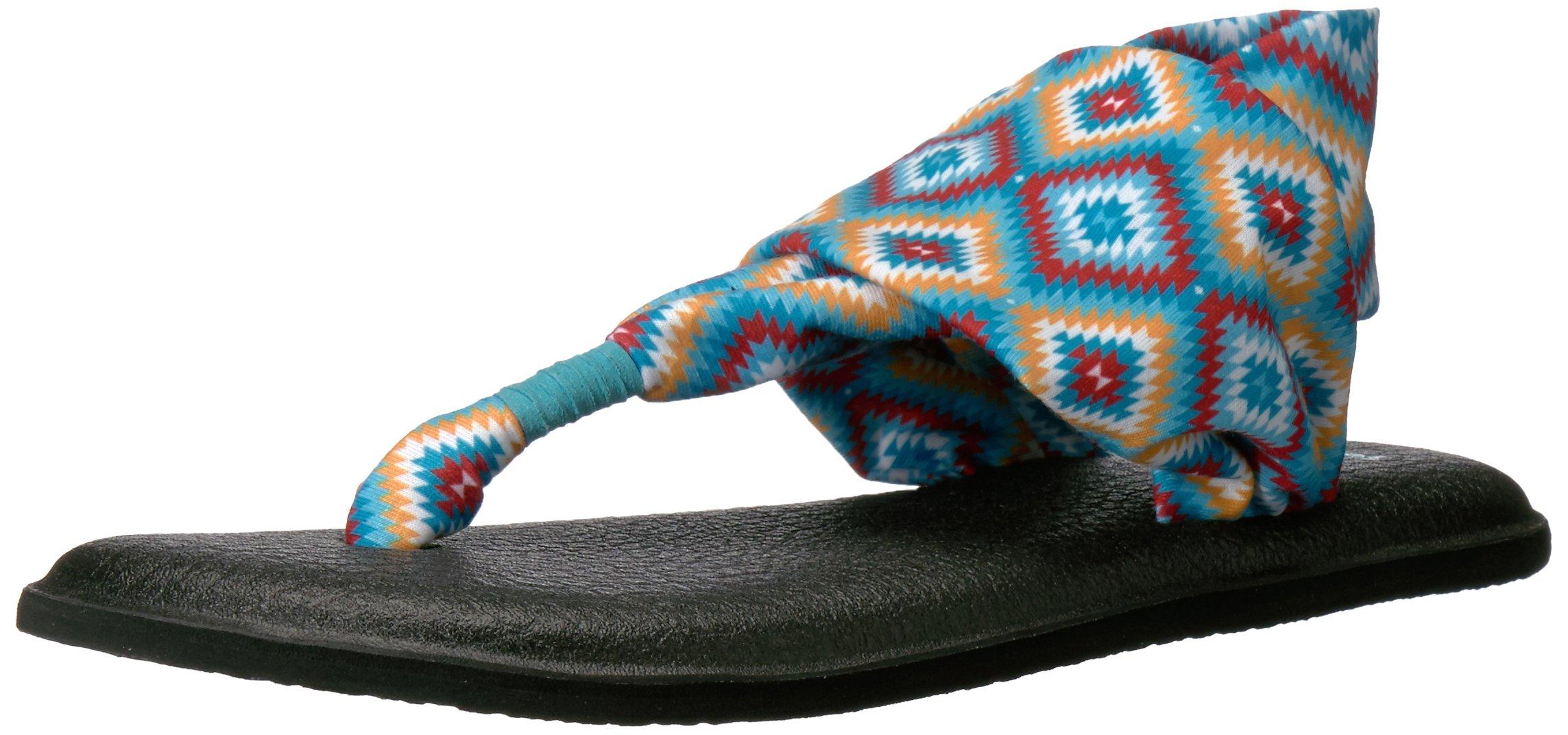 Sanuk Women's Yoga Sling 2 Prints Flip Flop, The Ranch Aqua, 8 M US