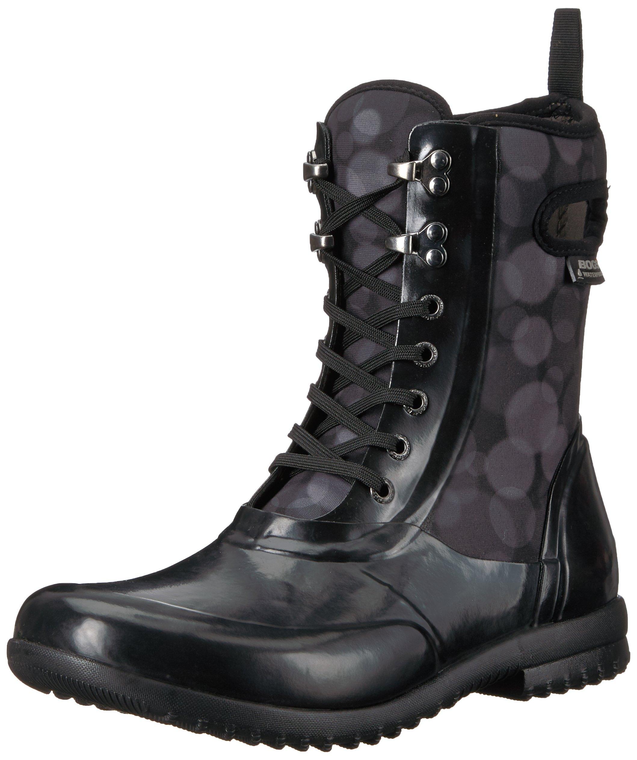 Bogs Women's Sidney Lace Rain Snow Boot,Black/Multi,7 M US