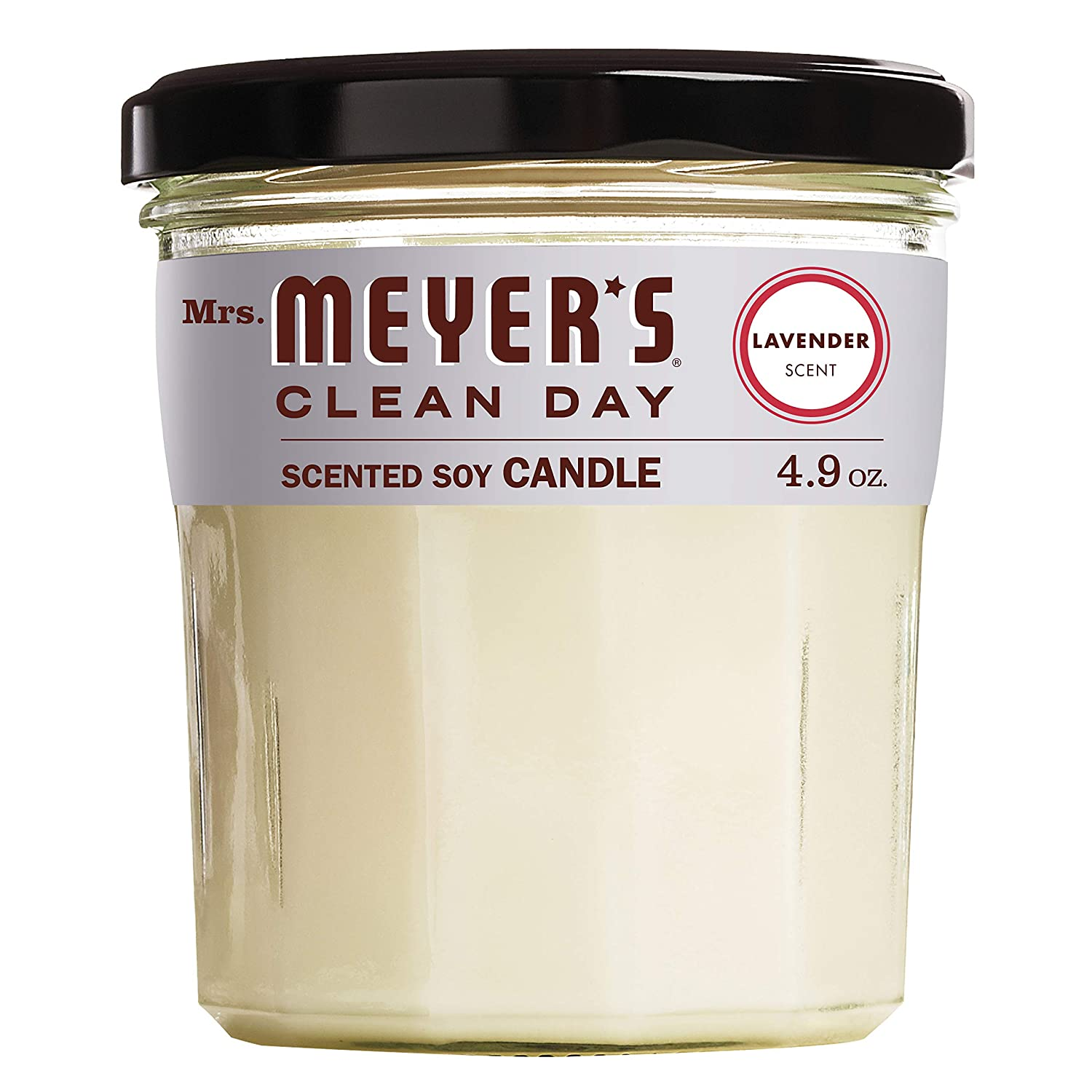 Mrs. Meyer's Clean Day Scented Soy Candle, Small Glass, Lavender, 4.9 oz