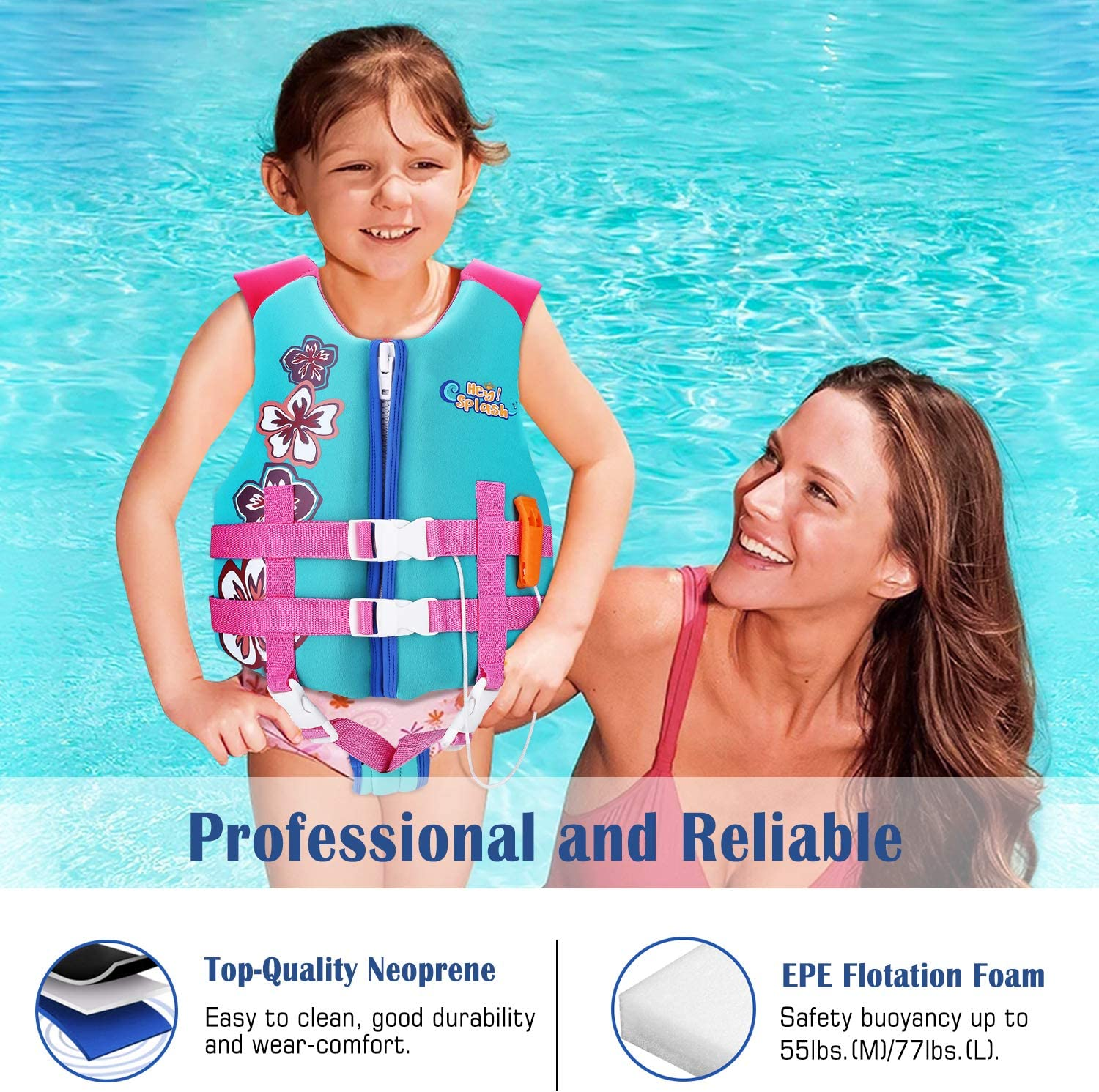 Size L Suitable for 35-55 lbs HeySplash Life Jacket for Kids Child Size Watersports Swim Vest Flotation Device Trainer Vest with Survival Whistle Easy on and Off Size M // 55-77 lbs