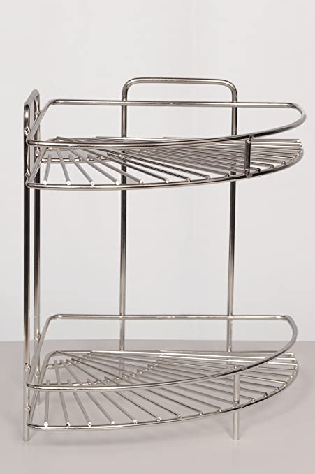Coconut Stainless Steel 2 Step Corner Kitchen Rack, Silver