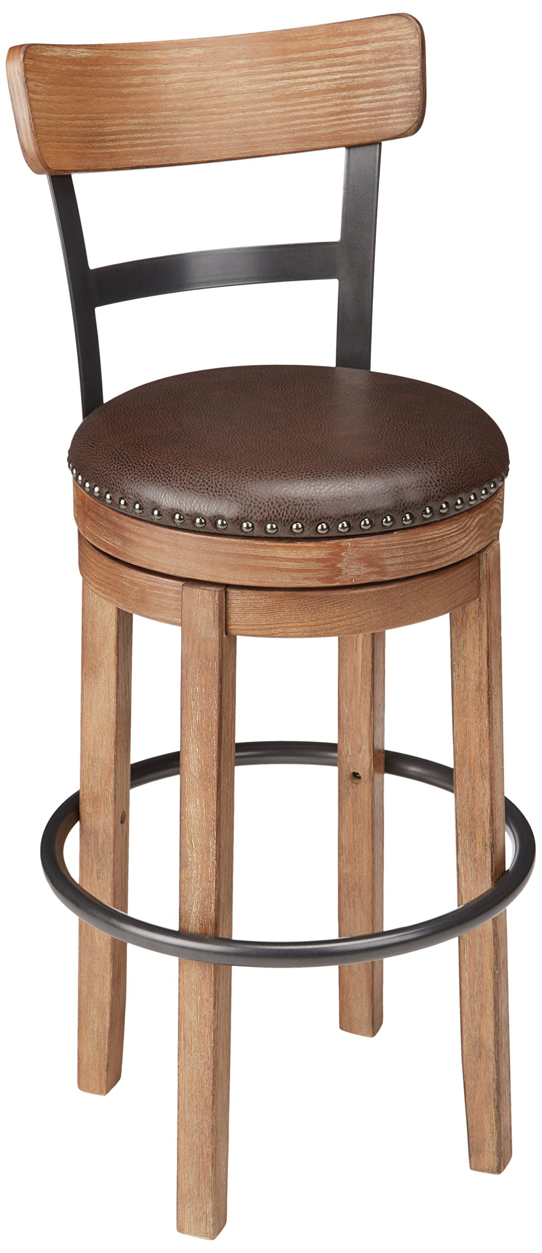 Ashley Furniture Signature Design - Pinnadel Swivel Bar Stool - Pub Height - Light Brown by Signature Design by Ashley