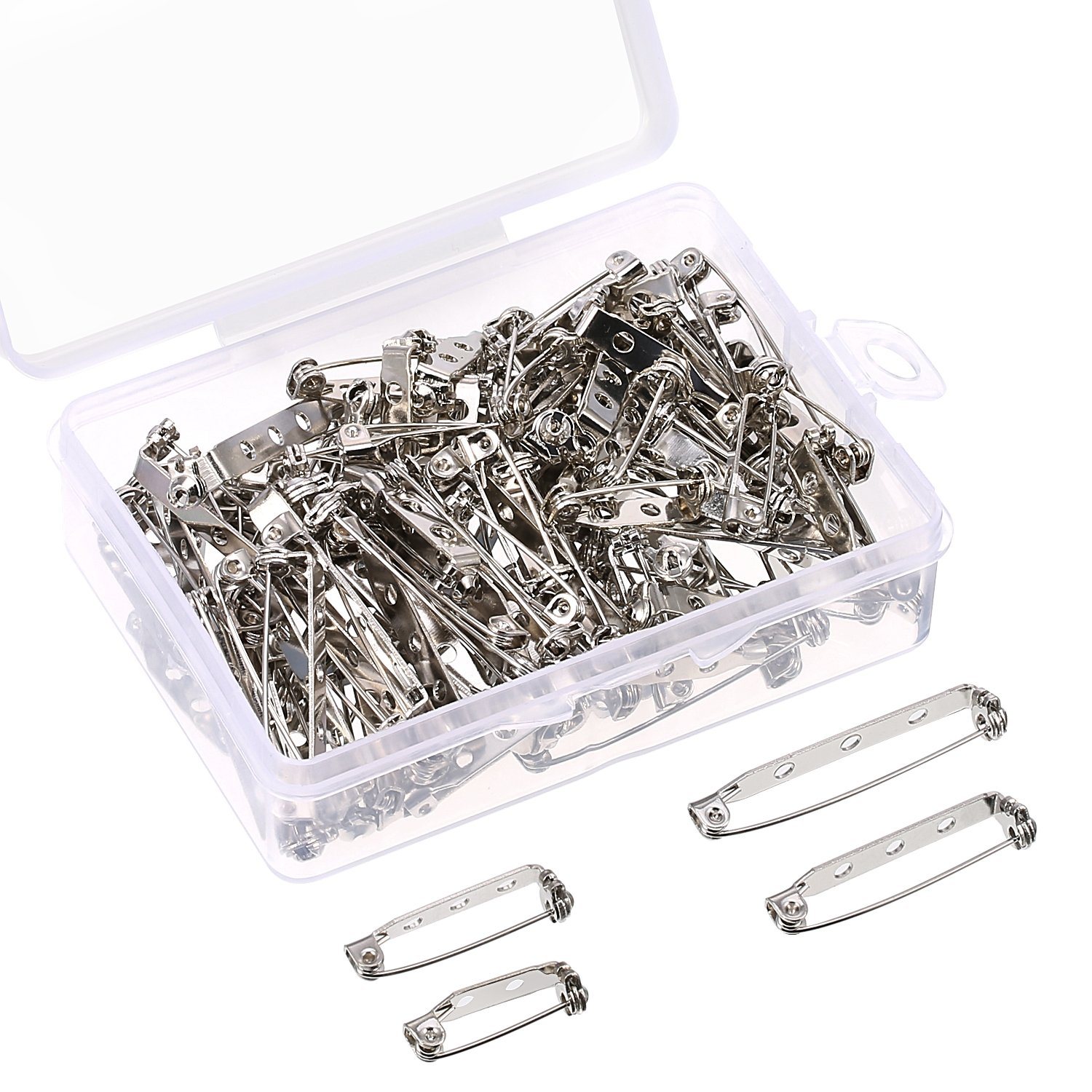Shappy 100 Pieces Bar Pins Brooch Pin Backs Safety Clasp with Plastic Box, 4 Sizes 20 mm, 25 mm, 32 mm and 38 mm (Silver)