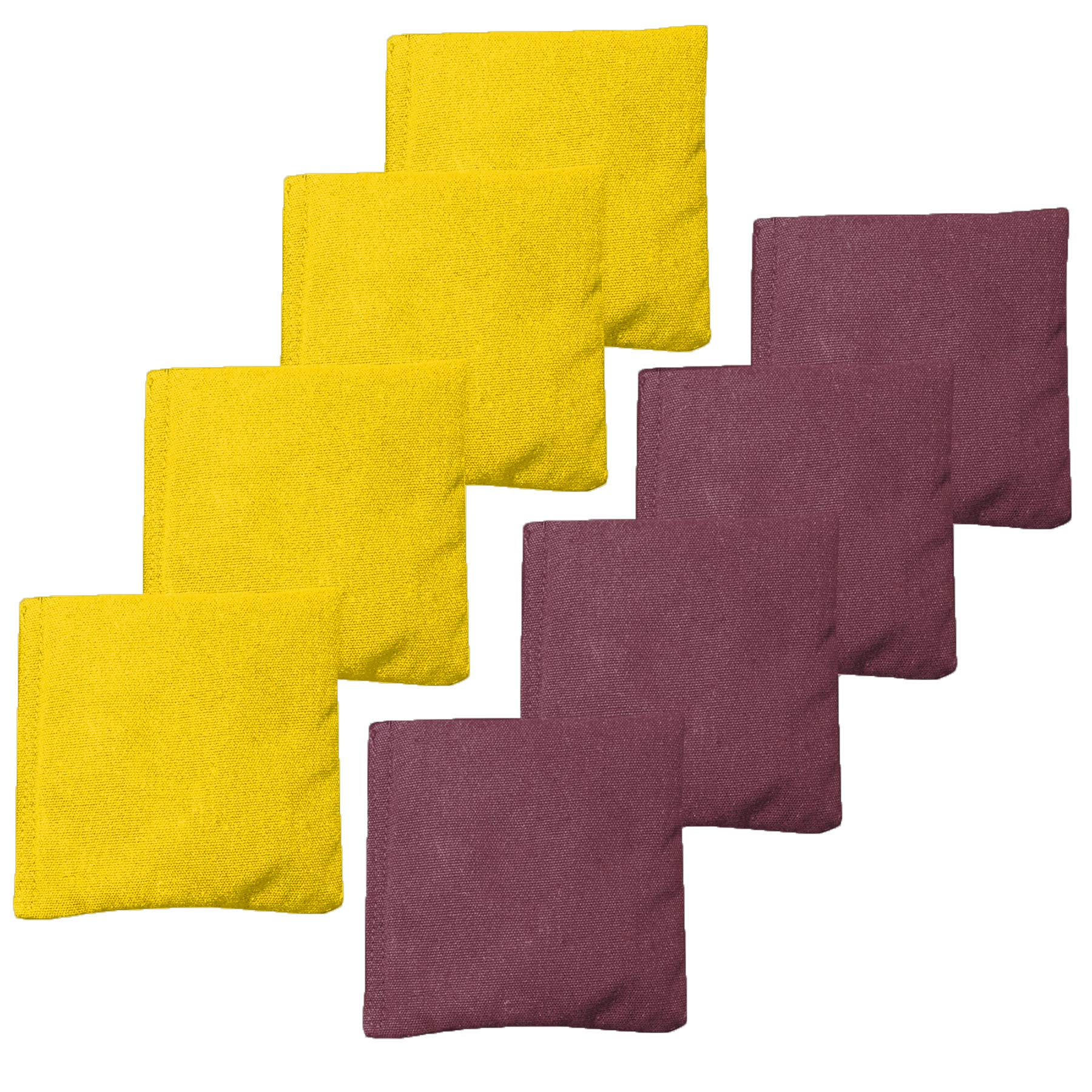 Weather Resistant Cornhole Bean Bags Set of 8 - Regulation Size & Weight - Burgundy & Yellow by Play Platoon