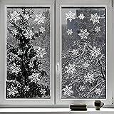 Set da 100 Pezzi Vetrofanie Adesivi di Natale a Forma di Fiocco di Neve, Decora la tue Finestre con gli Adesivi a Tema Natalizio Invernale