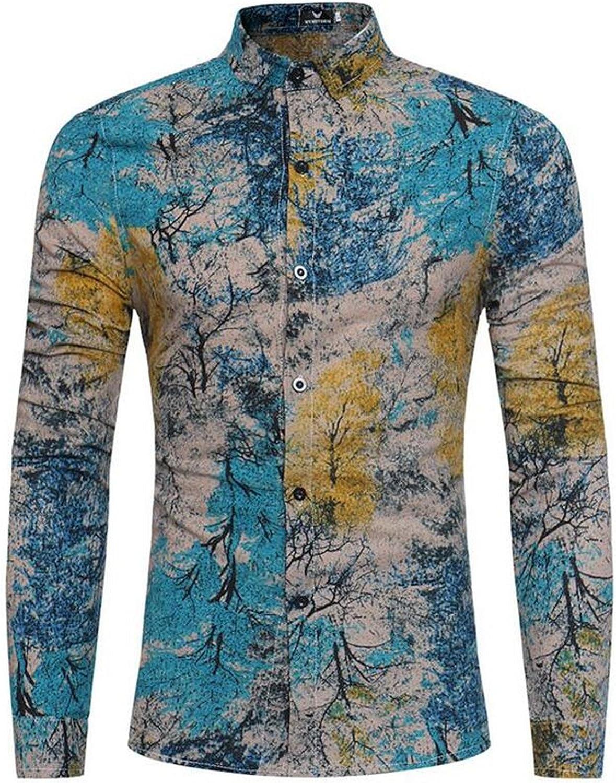 Sonjer Fashion Trend Flower Shirt Men 2018 Spring New Print Shirt Clothes Flax Casual Business Hawaiian Long Sleeve Dress Shirts Blue Asian Size 3XL