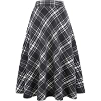 IDEALSANXUN Womens High Elastic Waist Maxi Skirt A-line Plaid Winter Warm Flare Long Skirt