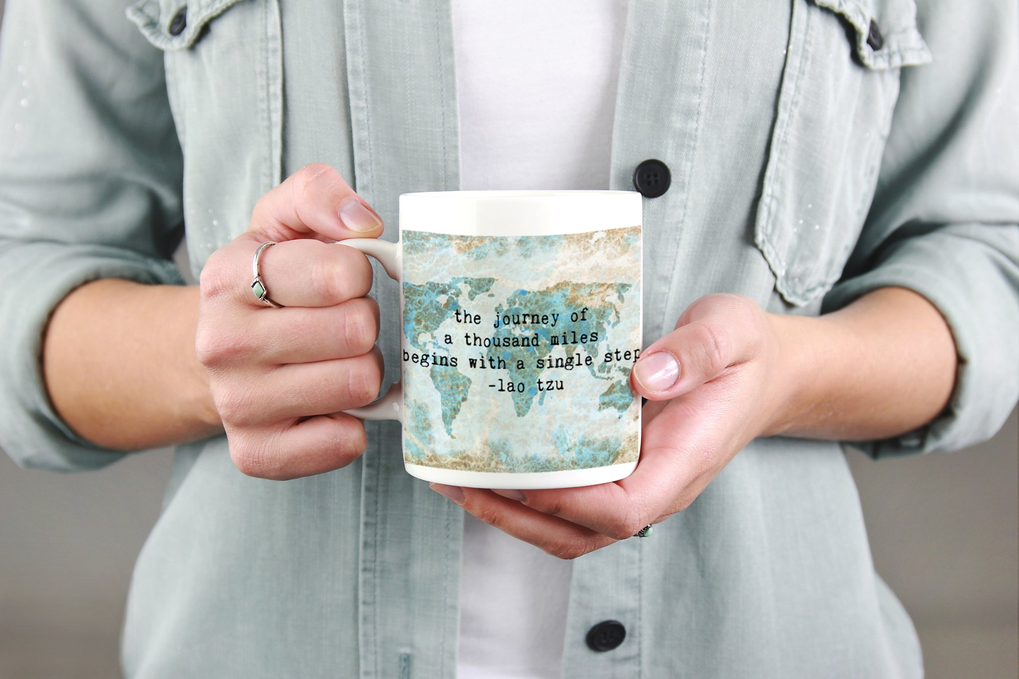 The Journey of a Thousand Miles Begins with a Single Step World Map Coffee Mug Travel Quote 15 oz Mug by Paintspiration (Image #2)