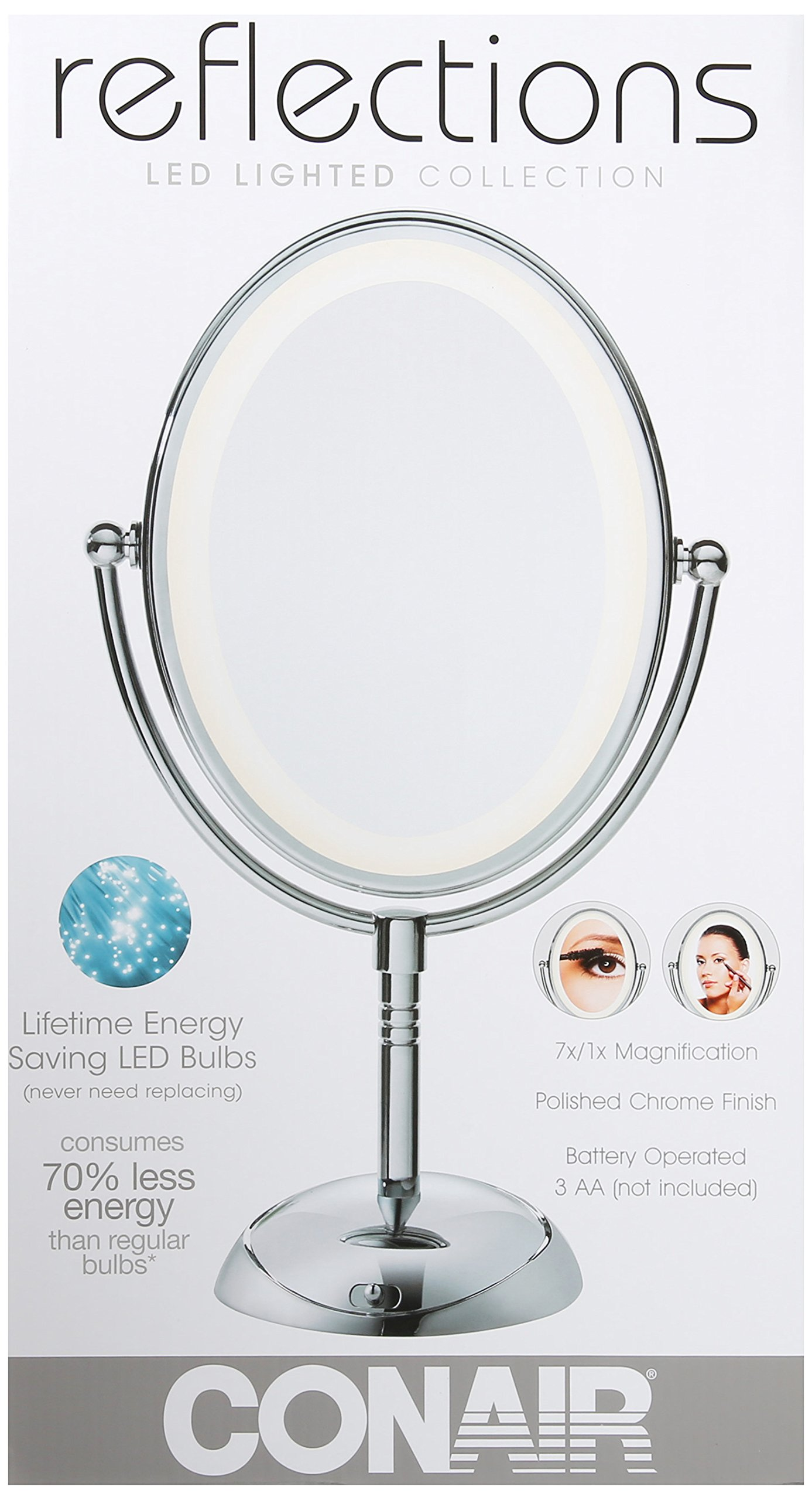 Conair Oval Shaped LED Double-Sided Lighted Makeup Mirror; 1x/7x magnification; Polished Chrome Finish by Conair (Image #6)