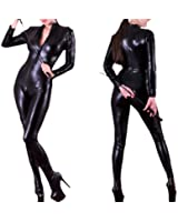 Forever Young Ladies Sexy Black 4 Way Zip PVC Spandex Shiny Catsuit Costume
