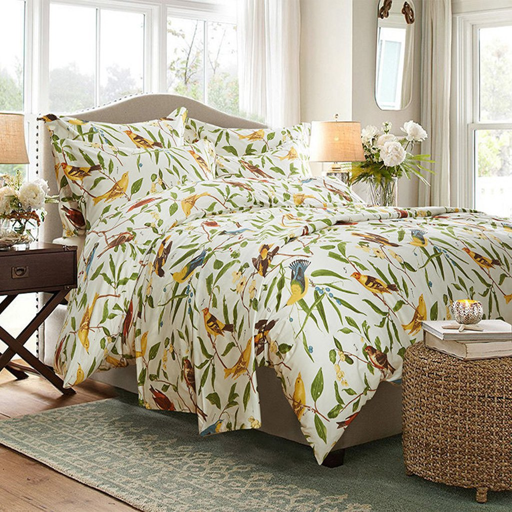 Amazon.com: MeMoreCool Home Textile American Country Style 100% Cotton  Reactive Printing High Grade 4 Pieces Bedding Set Lively Spring Birds  Design Quilt ...