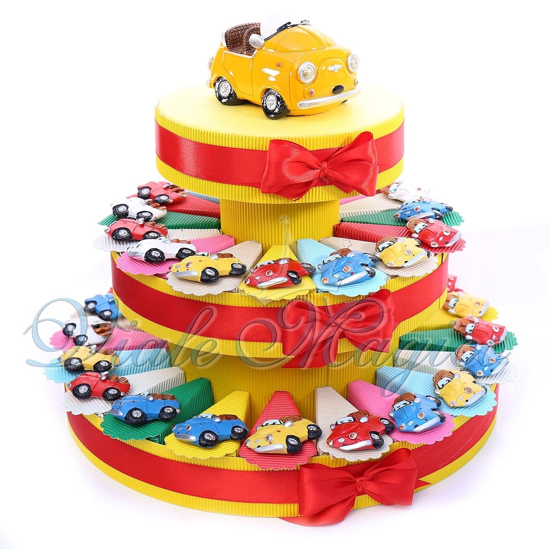 Aufsteller in Tortenform für Konfektschachteln Magnete mit Autos bunt für Geburtstage Torta da 60 Pezzi Torta Da 35 Pezzi