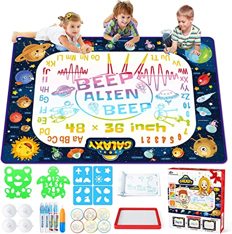 Jasonwell Aqua Magic Doodle Mat Water Drawing Doodling Mat Mess Free Coloring Painting Mat Educational Toys Gifts for Kids Toddlers Girls Boys Age 3 4 5 6 7 8 Year Old 47 x 35 Inches