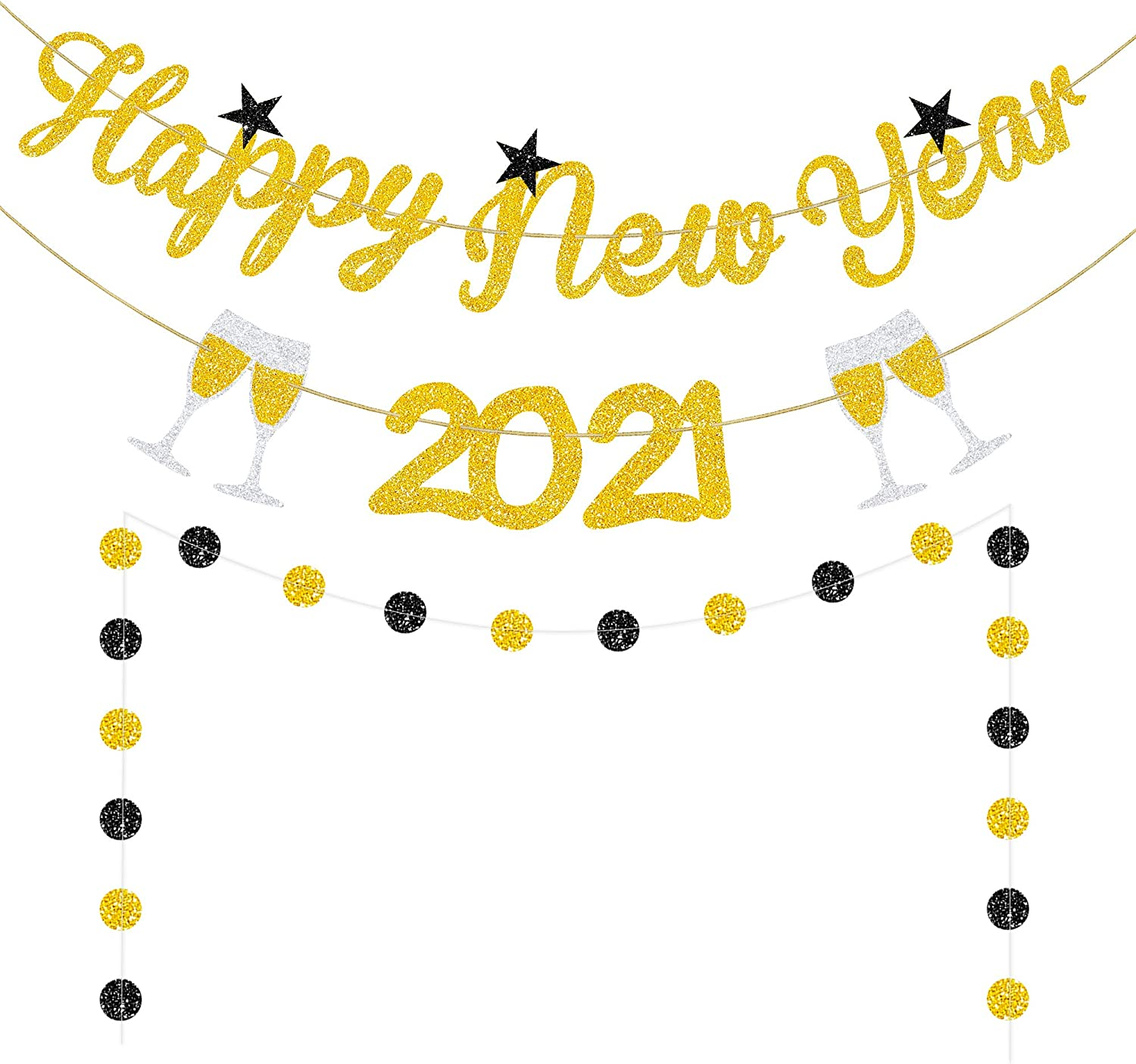 Happy New Year 2021 Banner Gold Glitter - 2021 New Year Party Decorations - 2021 New Years Eve Party Supplies Including Glitter Circle Dots Garlands - New Year Home office school Indoor Outdoor Hanging Decor