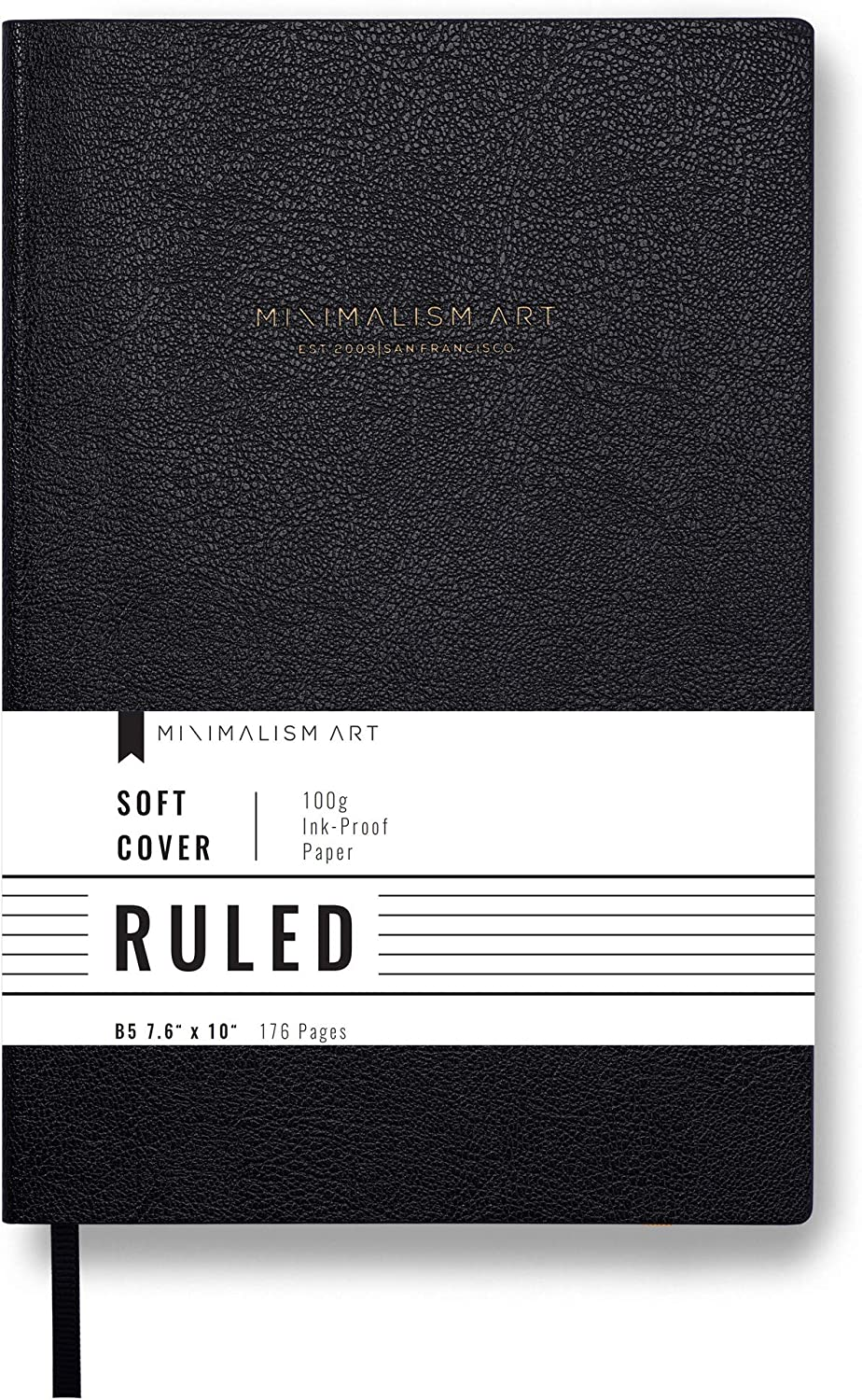 Composition B5 Size 7.6 X 10 inches Designed in San Francisco 100gsm Premium Thick Paper Soft Cover Notebook Journal Minimalism Art Plain Blank Page 192 Pages Fine PU Leather Black
