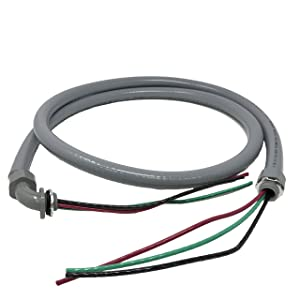 """Sealproof Power Whip Assembly, 1/2-Inch x 6 Ft Nonmetallic Liquid Tight Flexible Electrical Conduit and 10 Gauge Wire Single Phase Preassembled A/C Hook-up Whip Kit, 1/2"""""""