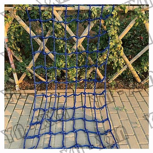 XXN Red de Escalada de Seguridad, jardín Trepar Casa del Árbol Cerca del Hipódromo de Protección Cargar Redes de Carros de Cubierta Pesada de Carga Fija Red de Escalera de Barandilla Azul:
