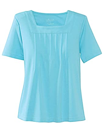 01c9fe2be21 UltraSofts Square Neck Top at Amazon Women s Clothing store  Blouses