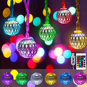 Obrecis Color Changing Globe String Lights, 50LED Moroccan Christmas Lights USB Plug Metal Ball Decorative Lights with Remote for Diwali, Indoor, Boho Girls Bedroom Xmas Tree Decor- 32.8ft (RGB)