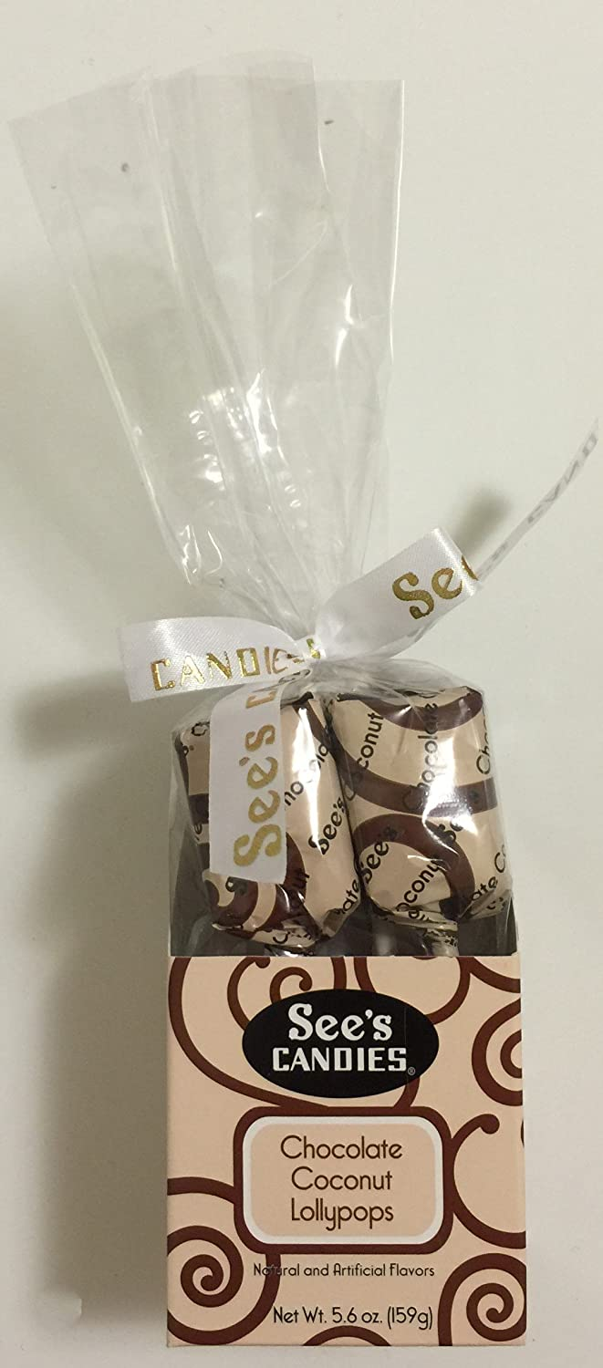 Amazon.com : See's Candies 5.6oz Chocolate Coconut Lollypops.(pack ...
