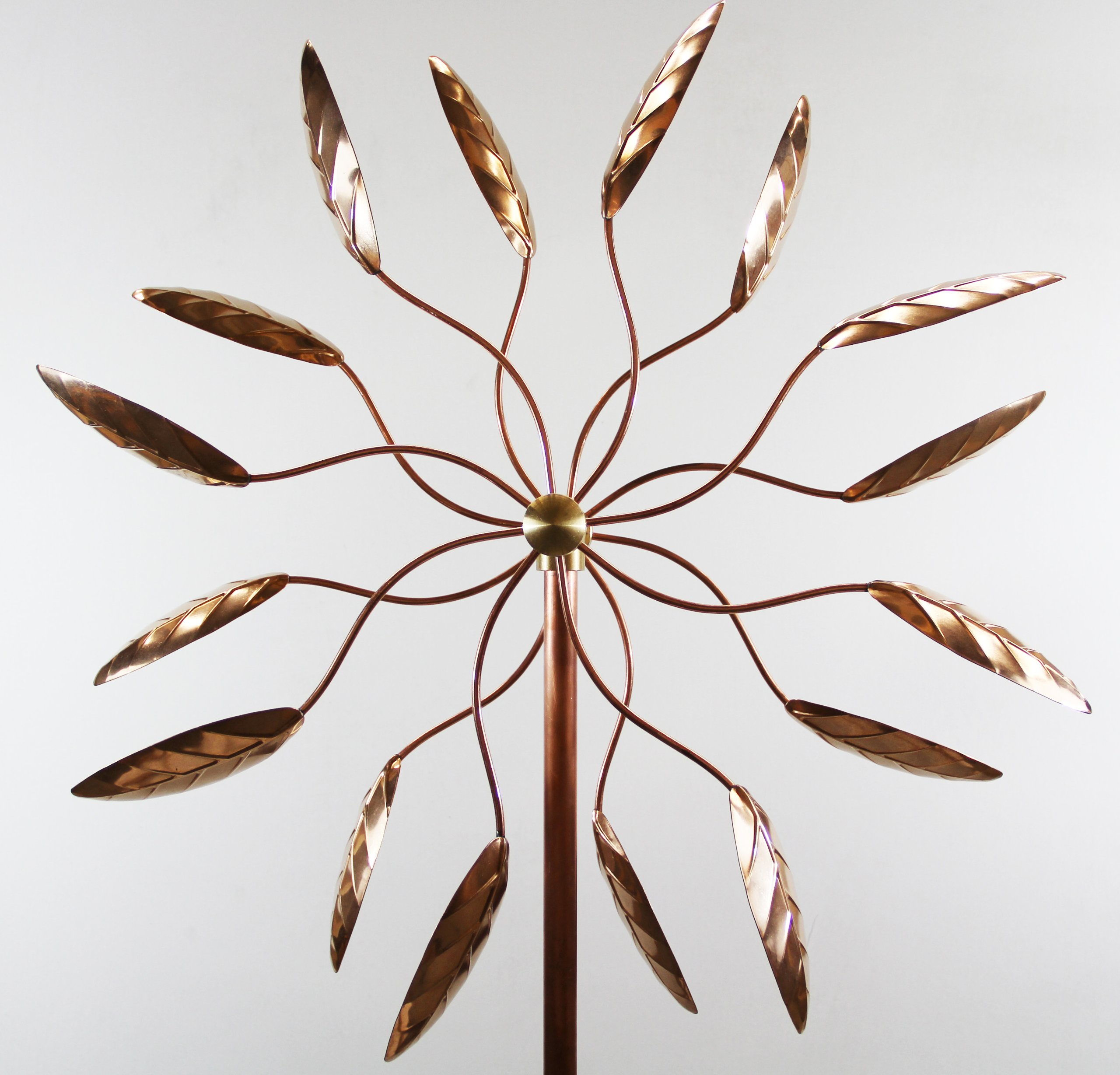 Stanwood Wind Sculpture Kinetic Copper Wind Sculpture, Dual Spinner Spinning Ficus Leaves by Stanwood Wind Sculpture