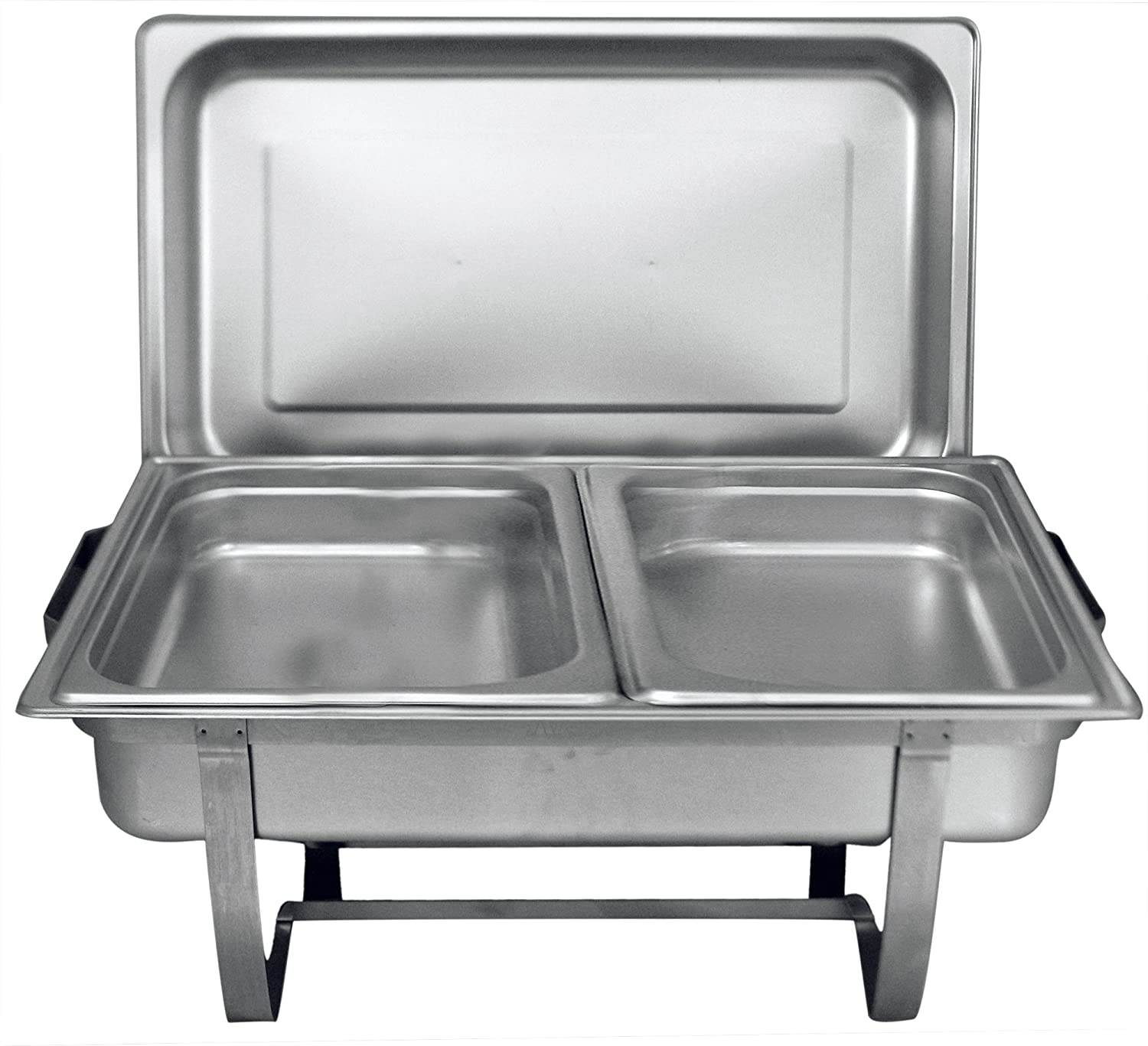 Tiger Chef 8 Quart Full Size Stainless Steel Chafer with Folding Frame and 2 Half Size Chafing Dishes Food Pans and Cool-Touch Plastic Handle on Top