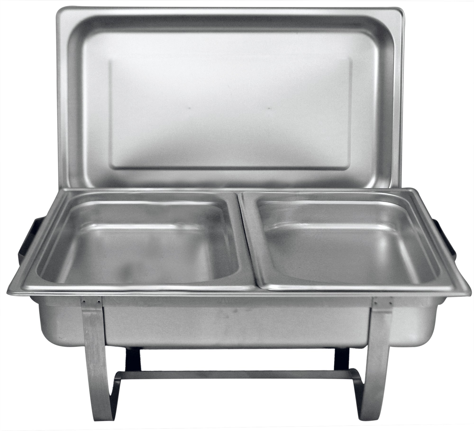Tiger Chef 8 Quart Full Size Stainless Steel Chafer with Folding Frame and 2 Half Size Chafing Dishes Food Pans and Cool-Touch Plastic Handle on Top by Tiger Chef